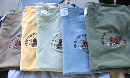 Squirrel logo shirts in a variety of colors.